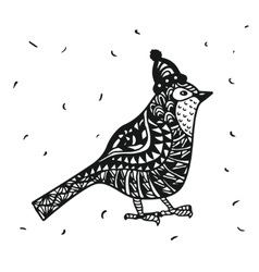 Zentagle robin bird in a Christmas hat graphics vector image