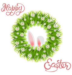 happy easter green wreath of grass and chamomile vector image