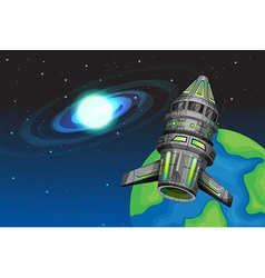 Rocketship flying in the space vector image