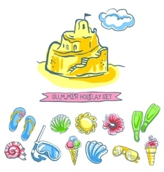 Set of sketch summer icons vector image vector image