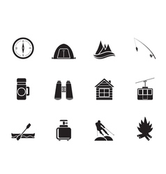 Silhouette Tourism and mountain objects vector image vector image