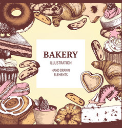 vintage bakery sketch background vector image vector image