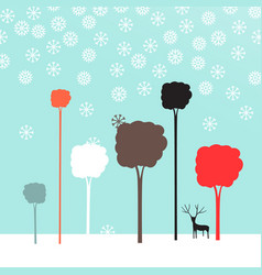 winter flat design landscape vector image vector image