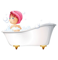 A young girl taking a bath vector image vector image