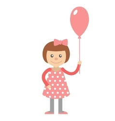 Little girl with balloon in hand vector