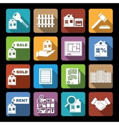 Real estate icons flat vector image