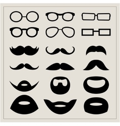 Set of moustaches and points on a beige background vector image vector image