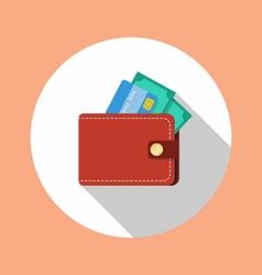 Wallet flat icon vector image vector image