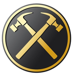 crossed hammer symbol vector image vector image