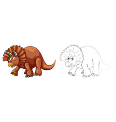 doodle animal for triceratops dinosaur vector image vector image