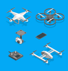 drones and equipment technology control set vector image vector image