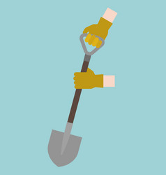 hand with gloves handle shovel digging vector image vector image
