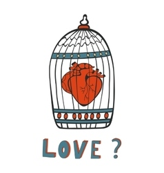 Is it Love Human heart in a cage vector image vector image