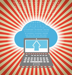 Laptop with stripes and blue cloud vector image vector image