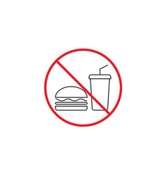 no food line icon no eating red prohibited sign vector image vector image