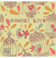 Retro Summer Love Birds Pattern vector image vector image