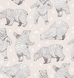 seamless background with hand drawn funny bears vector image vector image