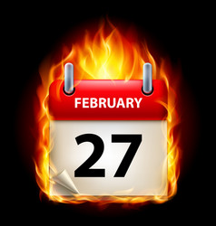twenty-seventh february in calendar burning icon vector image vector image