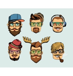 hipster man heads avatars vector image vector image