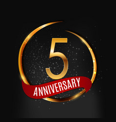 template gold logo 5 years anniversary with red vector image vector image