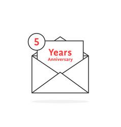 thin line 5 years anniversary logo like open vector image vector image