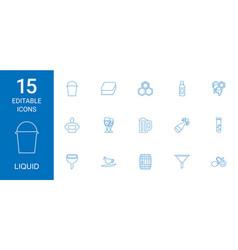 15 liquid icons vector image
