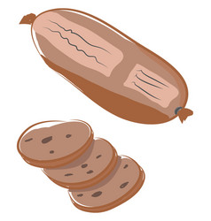 A packaged brown sausage or color vector