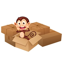 A smiling monkey and boxes vector image