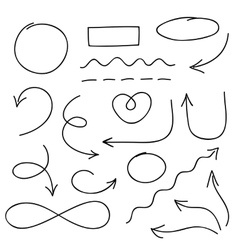 Arrows circles and doodle symbols set vector