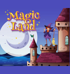 Background scene with font design for word magic vector