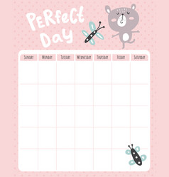 bear month planner vector image
