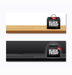 Black friday sale shopping bag on wood table vector