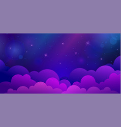 blue night stars sky with clouds vector image