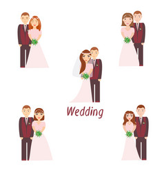 Bride and groom with bridesmaids vector