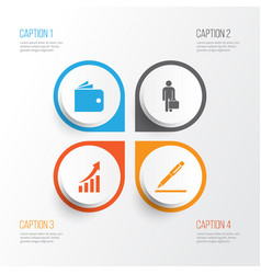 Business icons set collection of increasing work vector