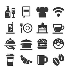 cafe and restaurant icons set on white background vector image