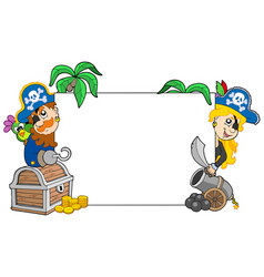 Cartoon pirates holding blank board vector