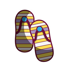 Casual flip flops to feet clothes vector