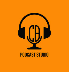 Cb monogram headphone and microphone style vector