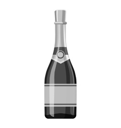 Champagne bottle icon gray monochrome style vector image