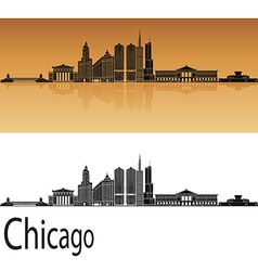 Chicago skyline in orange vector image