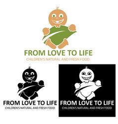 Child leaf logo vector