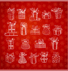 christmas gift boxes on red background vector image