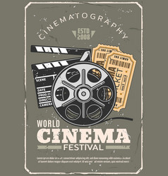 cinema festival retro poster film and tickets vector image