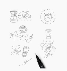 coffee pen line elements vector image