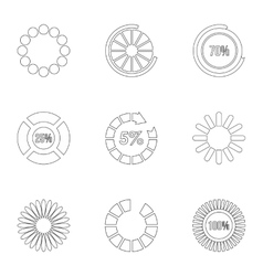 Computer download icons set outline style vector