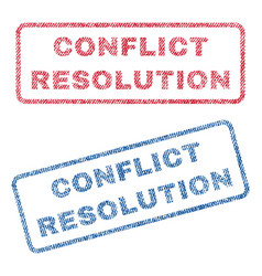Conflict resolution textile stamps vector