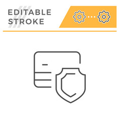 credit card security editable stroke line icon vector image