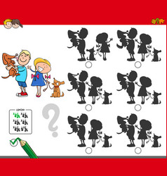 Educational shadow game with kids and dogs vector