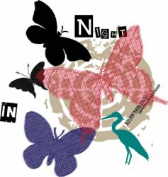 embroidery butterfly vector image vector image